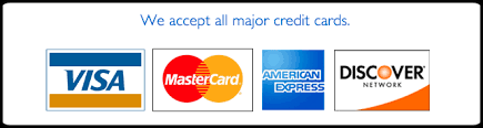 Accepted Credit Cards are Visa, Mastercard, Amex, Discover
